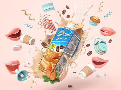 Almond Breeze breeze almond milk production visual art advertising campaign color render cgi 3d