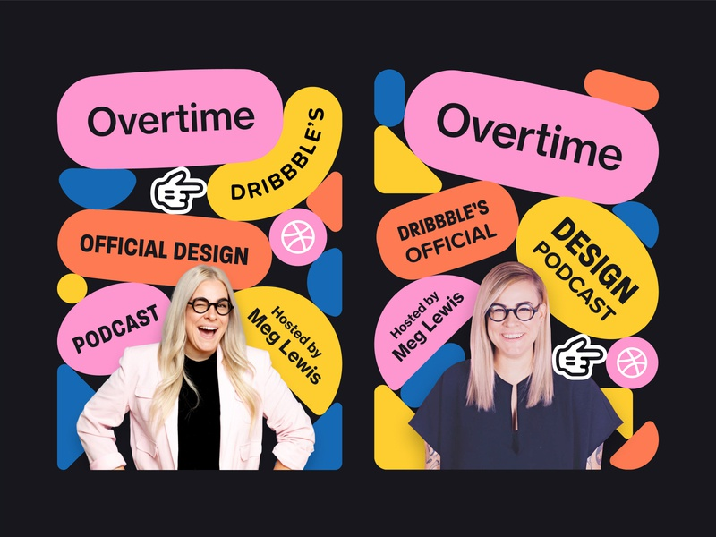 Overtime Concepts (Portrait) web design vector shapes ui ui design shapes promo podcast playful overtime flat design dribbble color palette bounce advertisment ad design