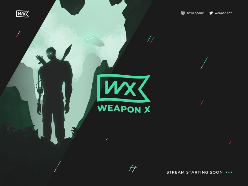 WeaponX Twitch design brand design branding logotype logo design ui design dark ui black and green character illustration character design post apocalyptic illustraion weapon gaming website gaming logo gaming twitch logo twitch