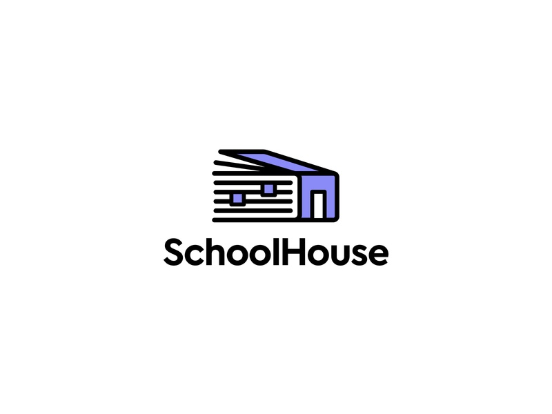 SchoolHouse Logo Concepts thick lines linework simple design logo construction logo concepts brand identity logo sans serif branding freelancer identity logo design house app school