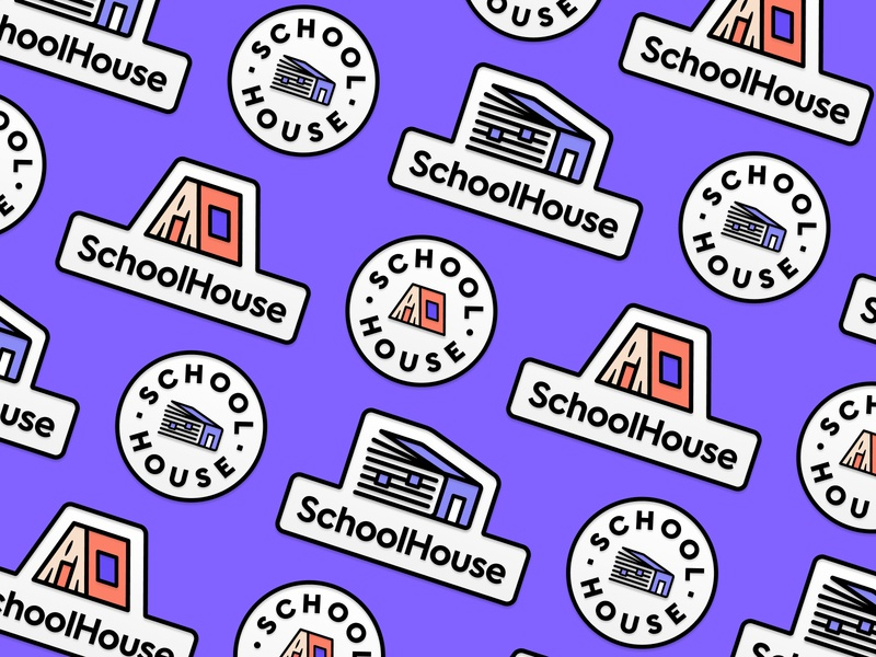 SchoolHouse Badge freelancer home house learning book school branding brand design pin logo badge logo logo design logo badges badge pin