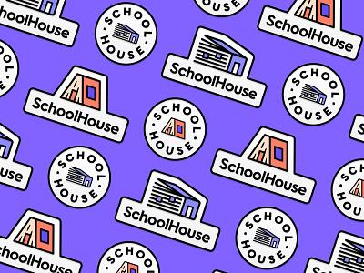 SchoolHouse Badge freelancer home house learning book school branding brand design pin logo badge logo logo design logo badges badge pin