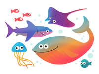 Earth Day fish jelly shark manta whale underwater character thelittlelabs illustration