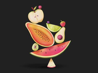 Balance of Fruits nutrition food fruit dragon fruit kiwi blueberry strawberry watermelon avocado papaya fruits