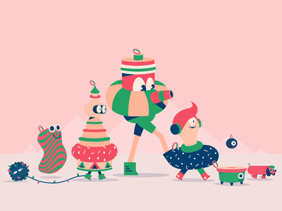 Happy Holidays!!! christmas ornament ornaments card holiday design 2d character animation thelittlelabs illustration