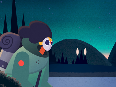 Ti and the Wild thelittlelabs explorer walkcycle orbs illustration animation running forest wild nature