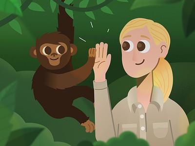 Earth Day 2019 forest monkey chimpanzee character animation gif animation sustainability environment earthday savetheplanet hope inspiration janegoodall drgoodall