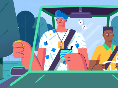 Carpoolin' motion graphics motion animation waze google carpool carpooling car driving animation character animation driving 2d character gif design thelittlelabs illustration animation