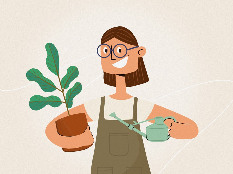 Plant Mom illustration thelittlelabs characterdesign character watering can fiddleleaf plant gardening moms mothersday mothers days mom plant mom