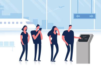 Self-service ticketing design illustration travel tickets aviation flights