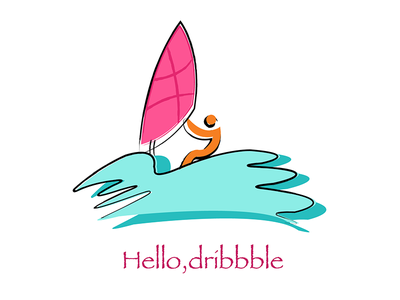 Hello Dribbble invite illustration graphic boat sailing first design shot debut character basketball