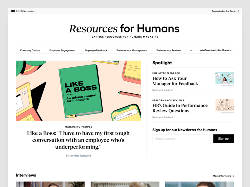 Resources for Humans Magazine 🗞 community news ux newsfeed magazine editorial landing page ui web website layout