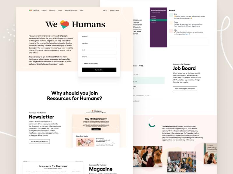 We Love Humans ❤️ editorial homepage hub community ui illustration landing page web website layout