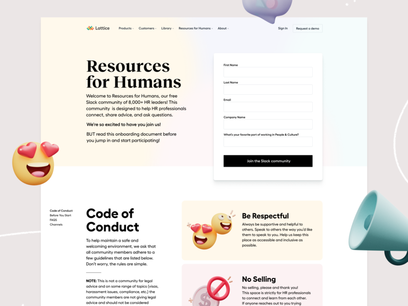 Resources for Humans Community 👯 code of conduct guidelines speech bubble smiley megaphone gradient 3d ui landing page illustration web website layout