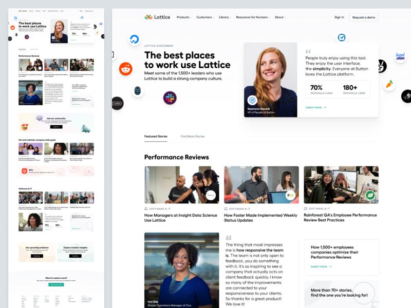 Customers' stories 💬 filters testimonials customers ui landing page web website layout