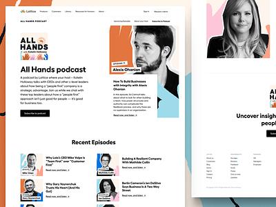 All Hands Podcast — Landing Page 🖼 hands episode podcast ui illustration landing page web website layout