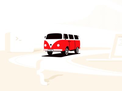 Le Wagon: Illo explorations 🔍 journey branding visual brand exploration combi van illustration