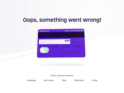 Spendesk: Error Error 💳 animation credit card error 404 page 404 web website