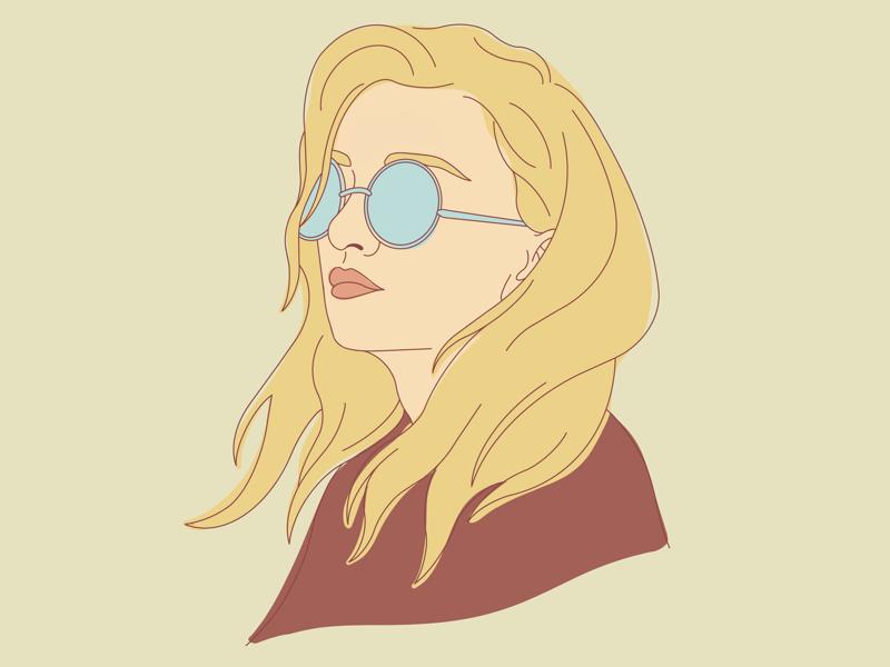 Blonde glasses line drawing illustration women blonde