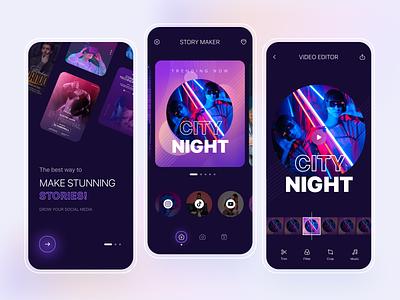 Story Maker App Design tiktok video templates youtube twitter facebook instagram social platform video editor story maker mobile app