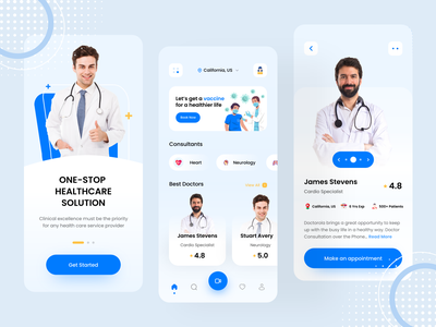 Medical App Concept lifestyle health app hospital clinic medicine patient doctor appointment clean modern ui design vaccine covid doctor health care medical mobile app