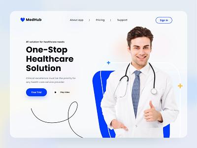 MedHub website mobile app vaccine patient doctor website hero webdesign landing page product health care medical
