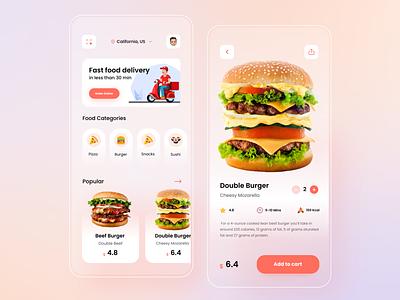Food Delivery - Mobile App web popular fast food pizza burger ux ui find cafe best design mobile design restaurant order food delivery