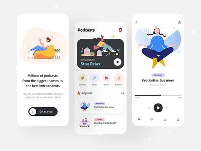 Podcasts - Mobile App trendy design clean ui popular shot android ios mobile app design best app top design ui design self care meditation splash listen music podcasts