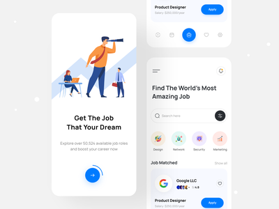 Job Finder - Mobile Design find dream job best ui design my jobs job search job listing best design mobile design job app