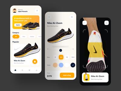 Nike Shoes - App Design Concept mobile app mobile nike air shoe running workout shoe mobile ecommerce concept ui design shoes nike