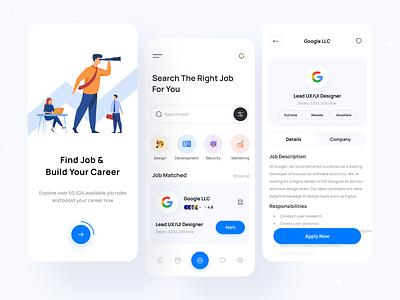 Job Finder - Exploration light theme minimal design mobile app ui design apple job google job dream job job details app design career job job seeker