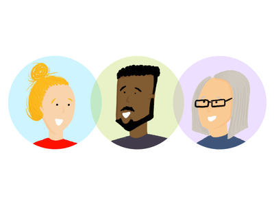 Research Participant Illustrations people illustration people comics cartoon team workday playful procreate user experience beard glasses research woman man persona worker person user illustration