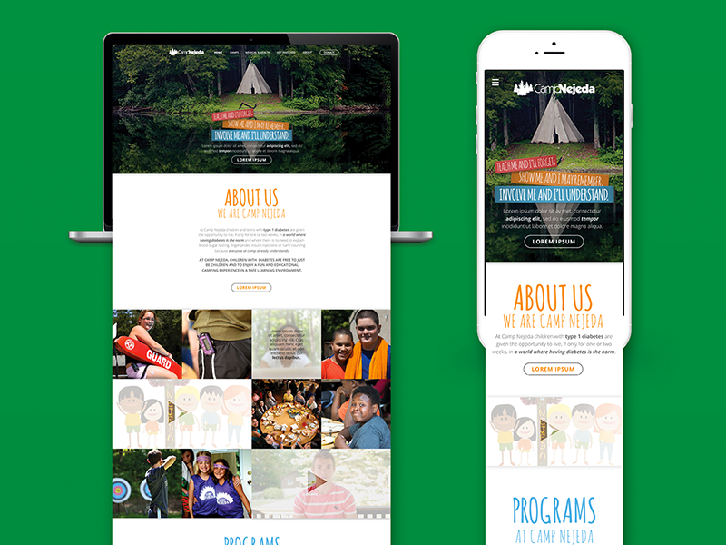Camp Nejeda Landing Pages responsive mobile diabetes camp summer camp ui interface landing page web design design