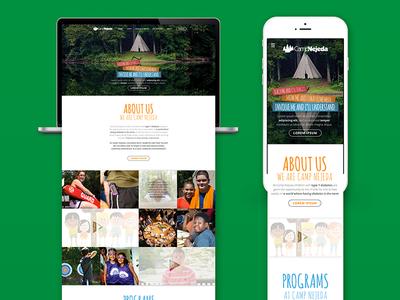 Camp Nejeda Landing Pages responsive mobile diabetes camp summer camp ui interface landing page web design design