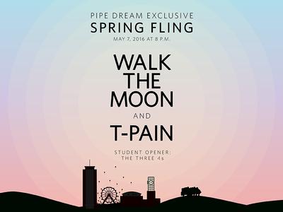 Spring Fling Artist Reveal serenity rose quartz skyline coachella gradient vector music festival festival music walk the moon spring fling binghamton