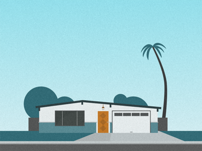Silicon Valley suburb palo alto california architecture palm tree teal house silicon valley material illustration