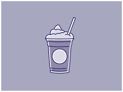 Frappuccino flat lines starbucks purple cup straw illustration coffee drink frappuccino