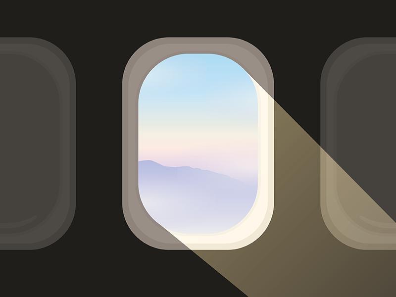 Airplane Views views serenity rose quartz gradient plane window airplane illustration