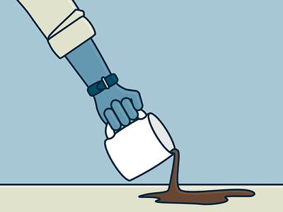 Coffee Spill spill mug coffee arm illustration