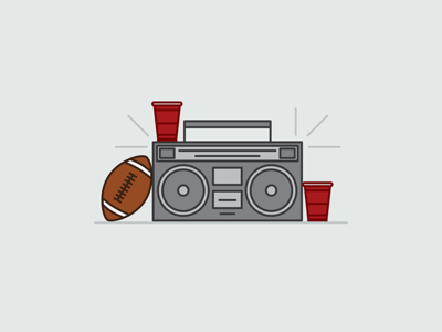 Tailgate Season red cup solo cup beer party college tailgate red solo cup cup solo football boombox illustration