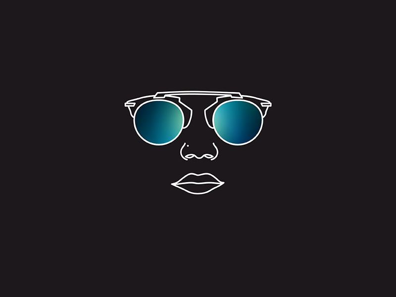Sunglasses #2 fashion style brand icon black sunglasses glasses illustration