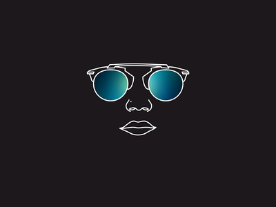 Sunglasses #2 fashion style brand icon black sunglasses glasses illustration