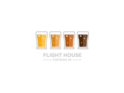 Flight House Logo branding concept glass flight beer bar restaurant design logo illustration