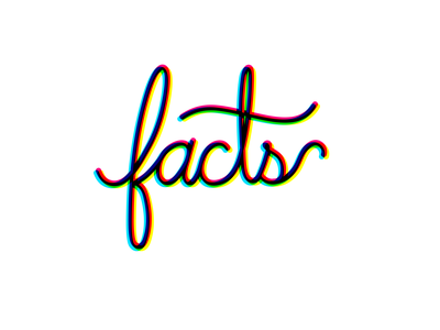 Facts 3d illustration typography type letters logo hand lettering cursive script icon facts lettering
