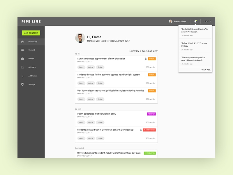 Pipe Line Dashboard workflow publishing web ux ui mobile iphone ios interface dashboard application app