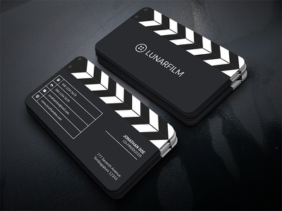 Film Clipperboard Business Card video stage professional production movie film maker film entertainment clean clapperboard clapper business card
