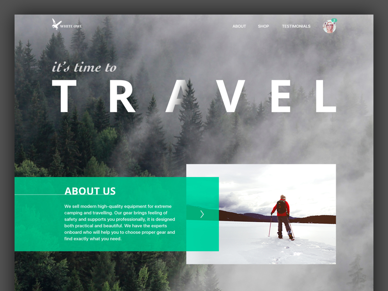 Travel Gear Landing Page gear travel interface webdesign web landing page design ux ui