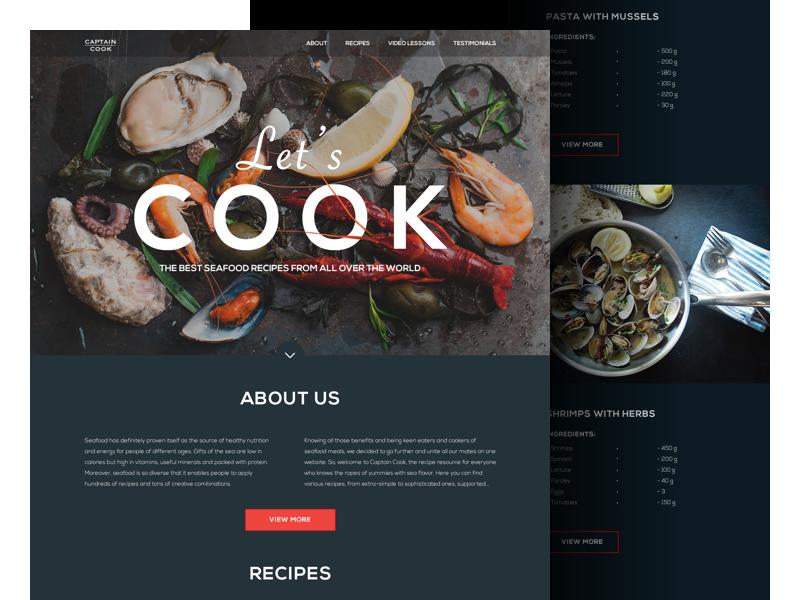 Seafood Recipes Landing Page  seafood food website dark interface ukraine ux ui design web landing