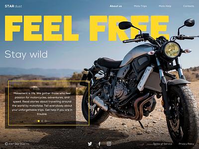 StarDust Biker Website travel biker motorcycle motion animation interface ux ui design website webdesign