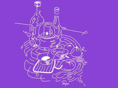 Still Life with a teapot and lemons graphic design fragmentsofmymind abstract surreal lemons teapot drawing live sketch doodle illustration stilllife